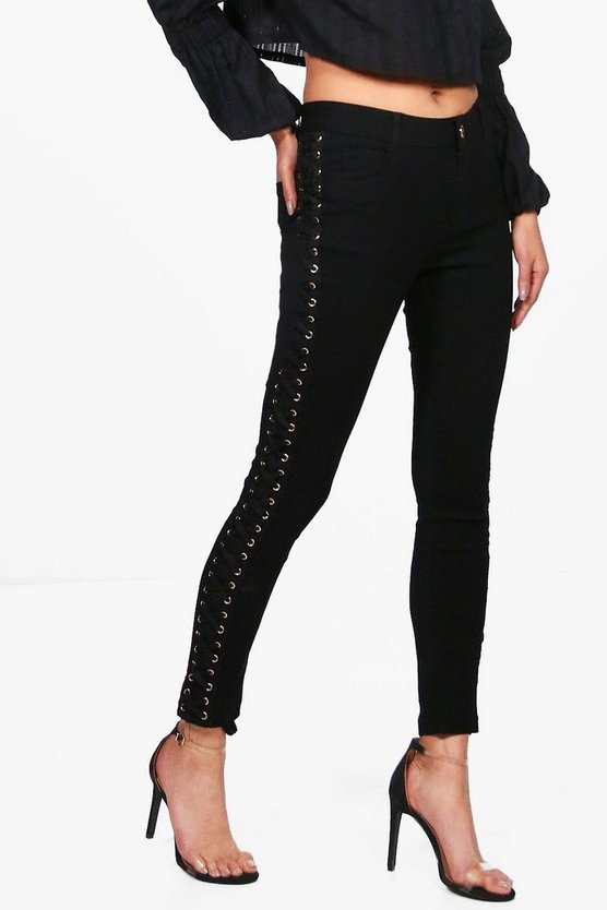 Robert Side Lace Up Skinny Jeans