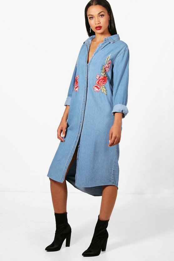 Mia Button Through Embroidered Denim Midi Dress