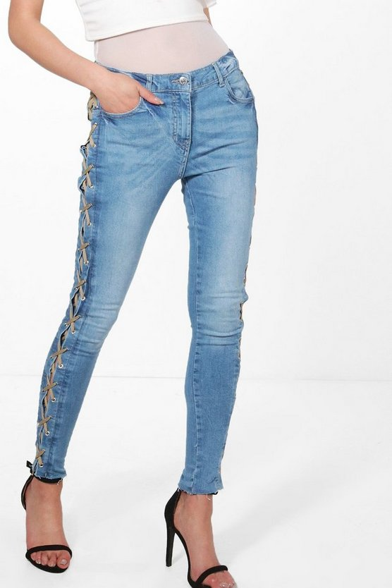 Polly Side Lace Up Skinny Jeans