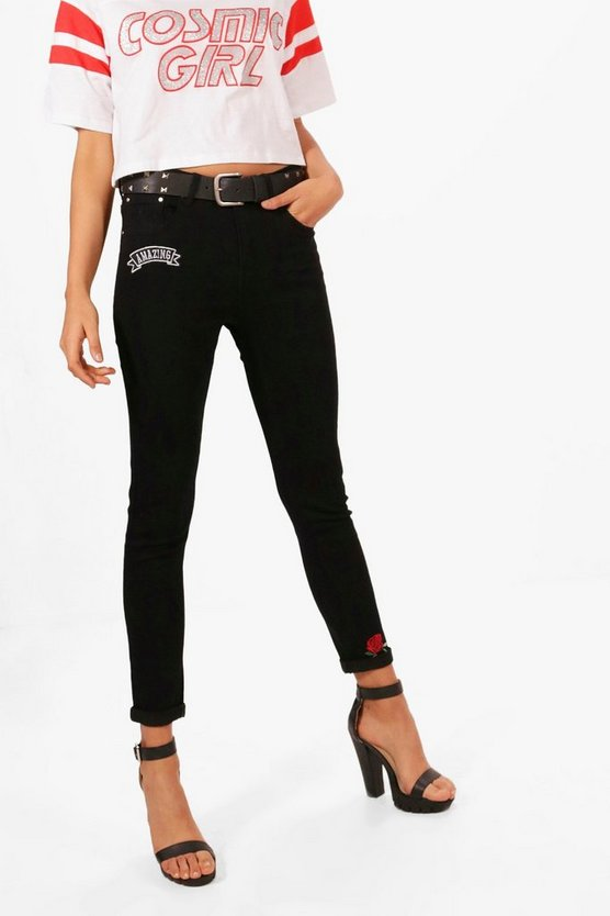 High Rise Floral Embroidery Skinny Jeans