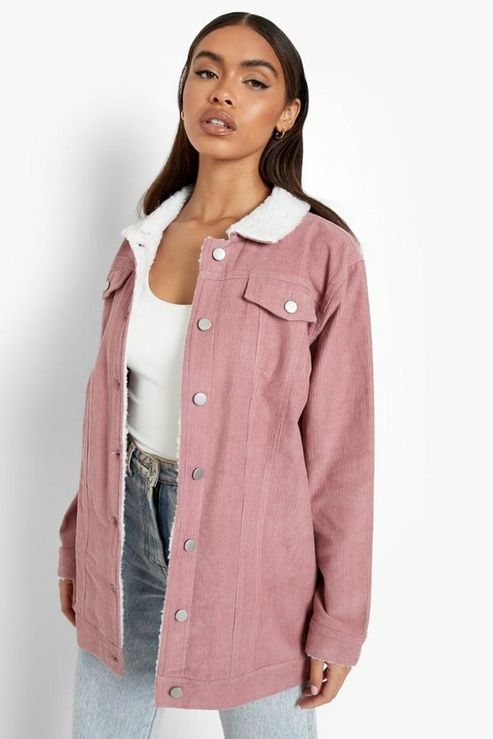 Womens Blush Borg Long Line Cord Jacket