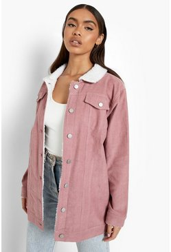 Blush Borg Long Line Cord Jacket