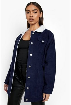 Womens Navy Borg Long Line Cord Jacket