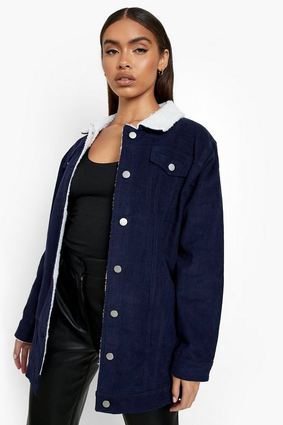 Borg Long Line Cord Jacket