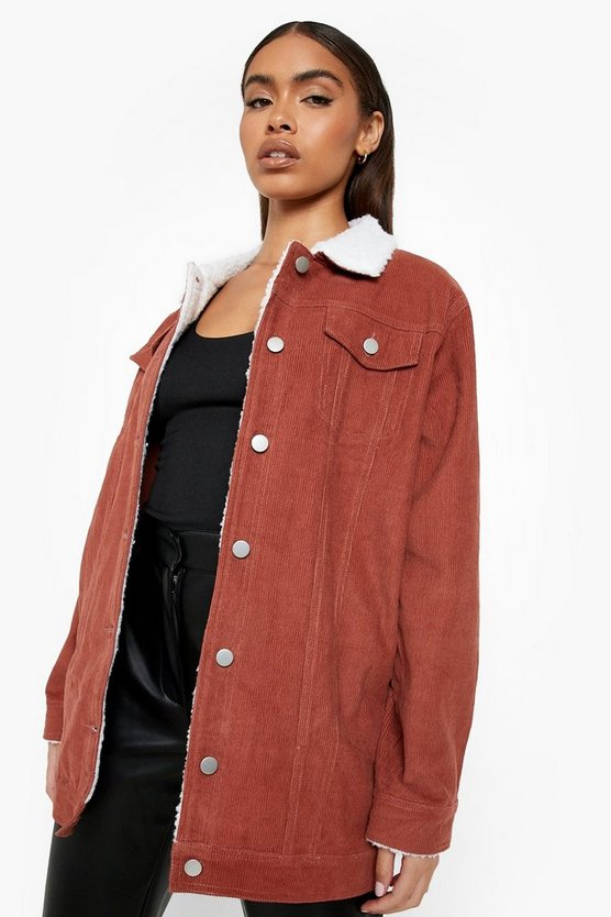Borg Long Line Cord Jacket, Rust, Donna