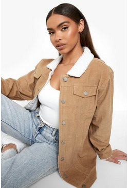 Womens Tan Borg Long Line Cord Jacket