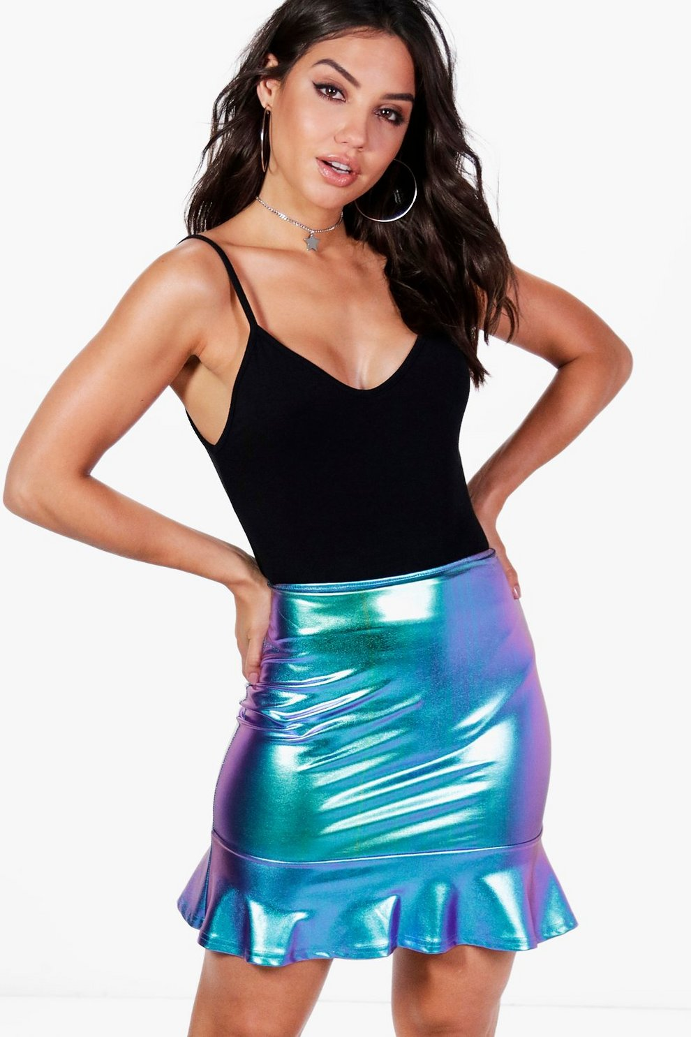 76e47e41b2 Gisela Drop Hem Mermaid Foil Mini Skirt | Boohoo