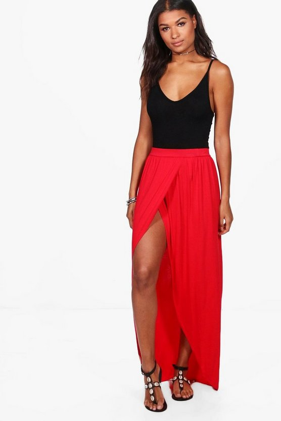 Womens Red Basic Reine Wrap Front Jersey Maxi Skirt
