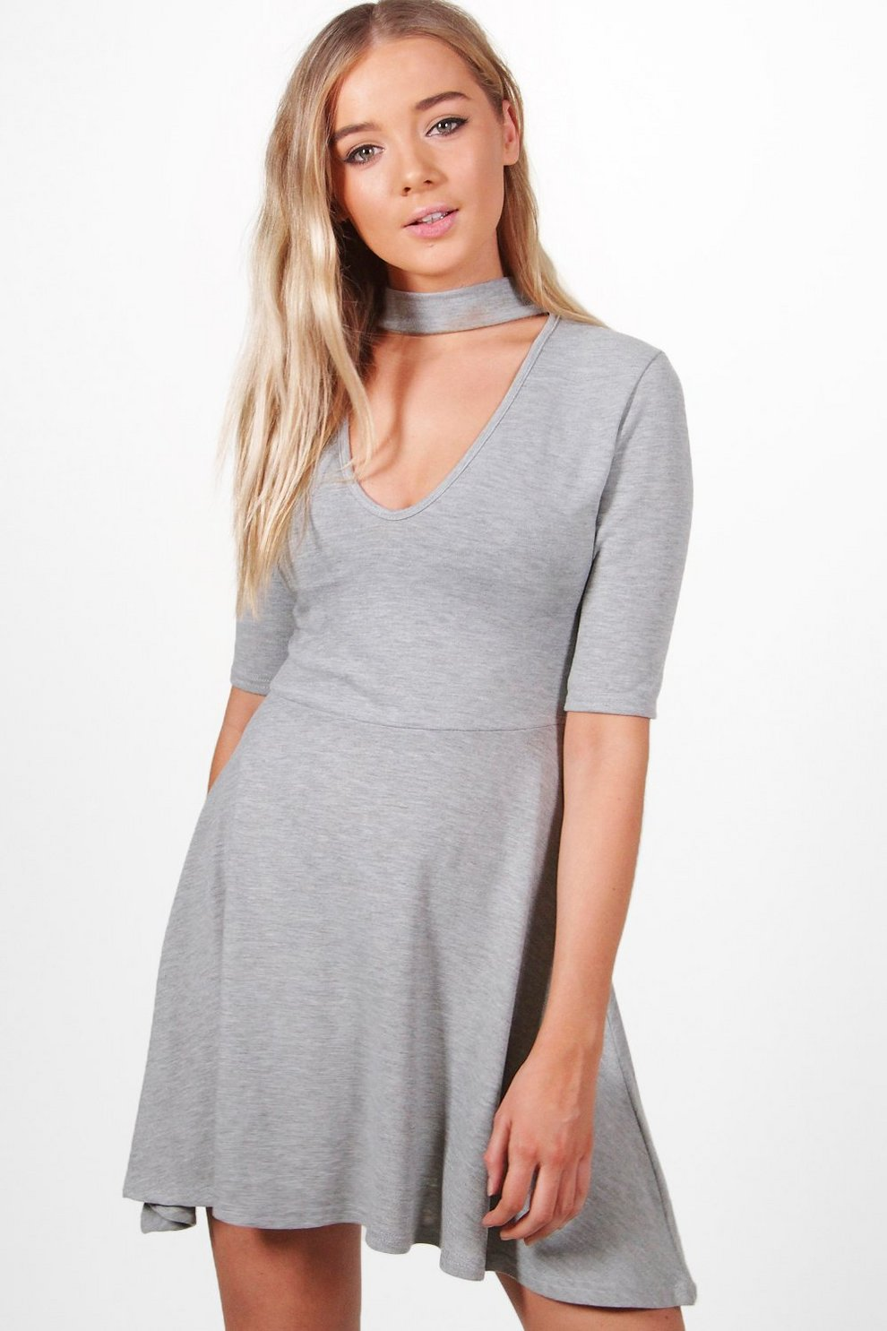 a553ef8b24 Bella Choker Knitted Skater Dress