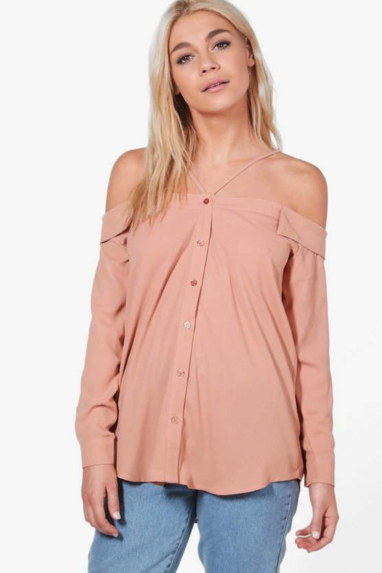 Lily Cold Shoulder Strappy Shirt, Женские