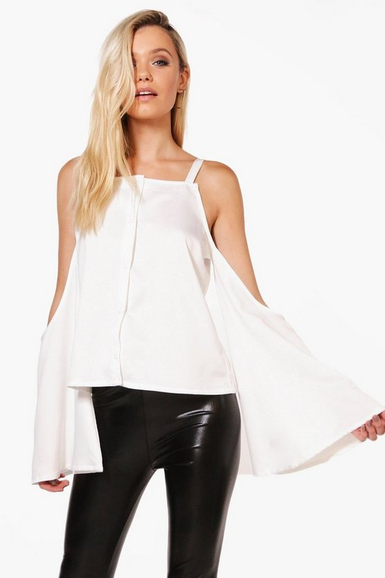Violet Extreme Cold Shoulder Satin Shirt
