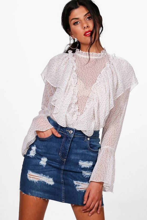 Womens Mid blue Paislee Distressed Denim Mini Skirt