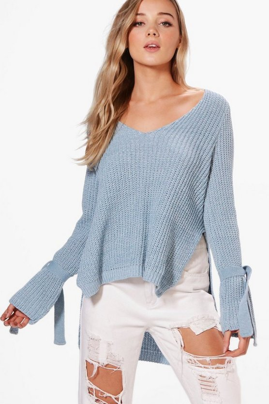 Womens Pale blue Anna Tie Sleeve Plunge Neck Jumper