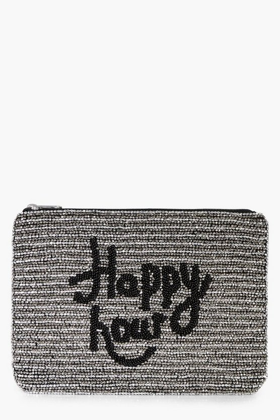 Emma Beaded Slogan Clutch Bag