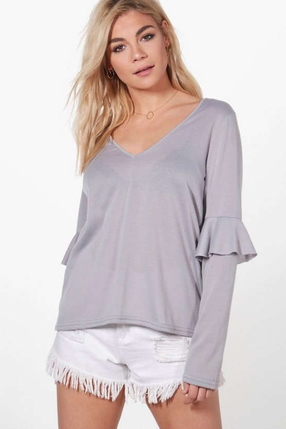 Karina Frill Sleeve V-Neck Top