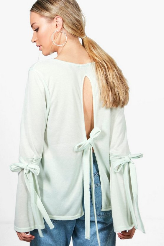 Phoebe Open Back Tie Sleeve Jumper