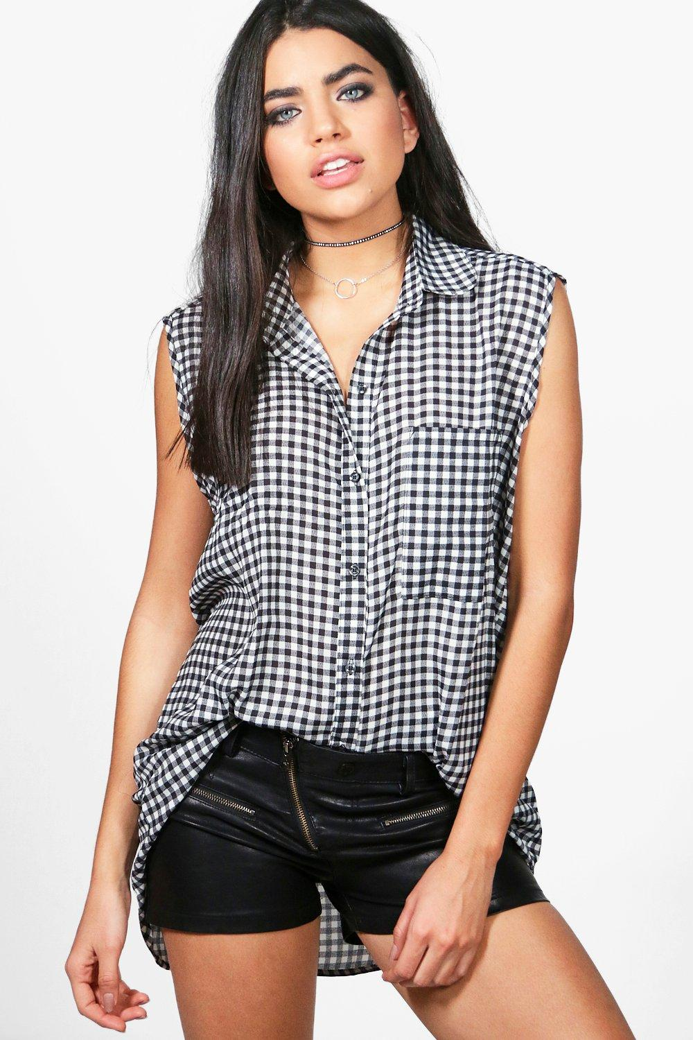 0463d17f Kylie Sleeveless Gingham Shirt. Hover to zoom