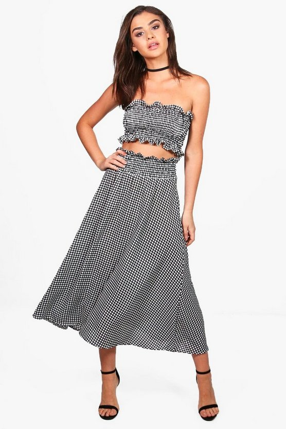 Gingham Midi Skirt + Bandeau Co-Ord Set