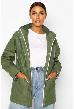 Womens Khaki Rubberised Rain Mac