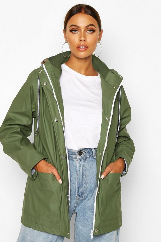 Rubberised Rain Mac, Khaki, Donna