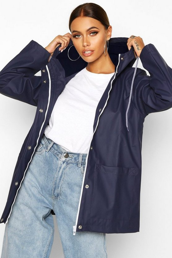 Womens Navy Rubberised Rain Mac