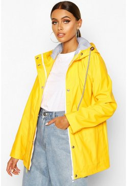 Womens Yellow Rubberised Rain Mac