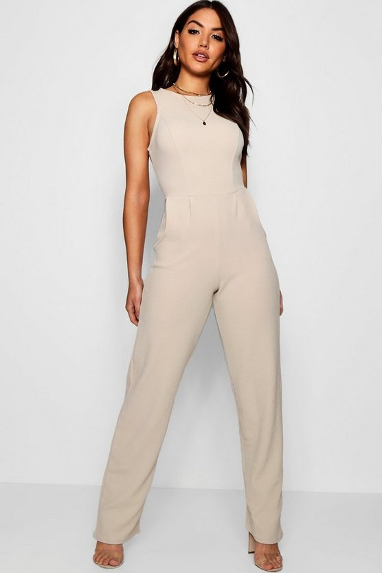 Round Neck Wide Leg Jumpsuit
