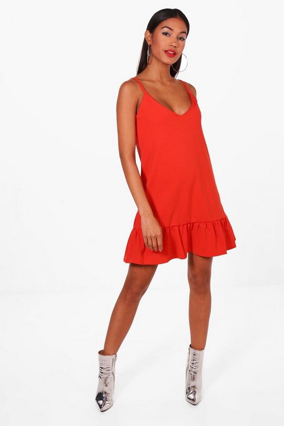 Strappy Frill Hem Shift Dress