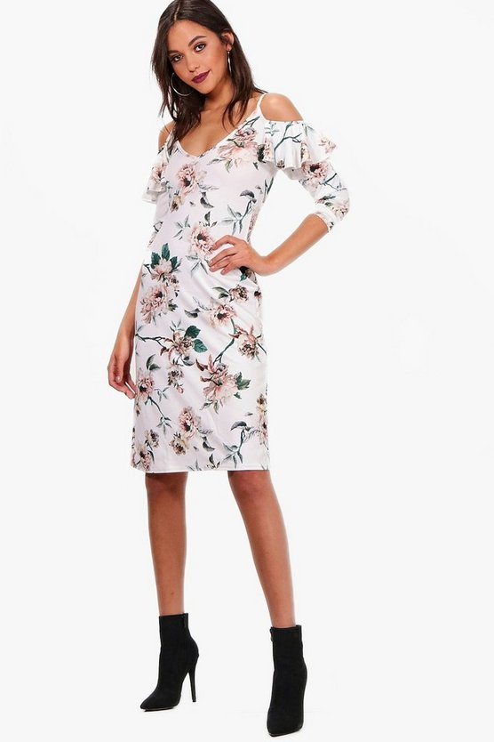 Floral Cold Shoulder Midi Dress