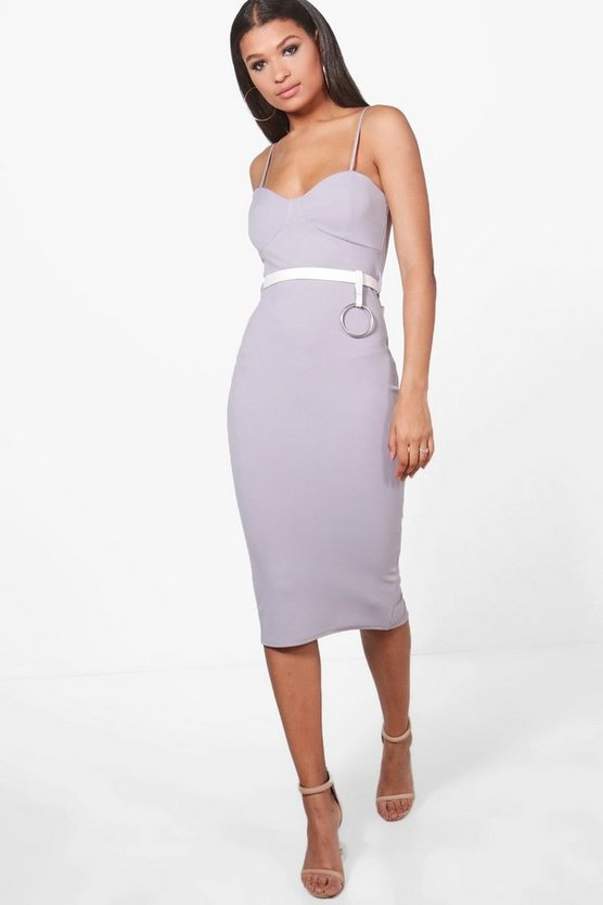 Womens Ice Tina Belted O-Ring Seam Detail Midi Dress