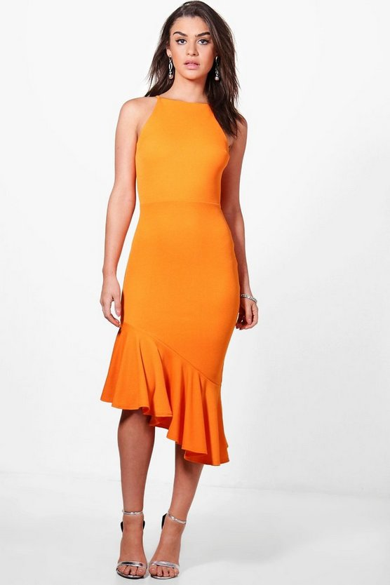 Womens Orange Isobel Asymetric Peplum Hem Midi Dress