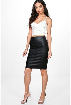 Womens Black Leather Look Midi Skirt