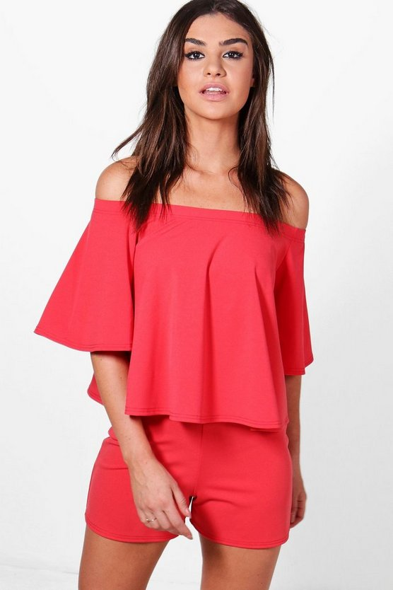 Womens Lipstick Casey Off Shoulder Scuba Crop & Short Co-Ord Set