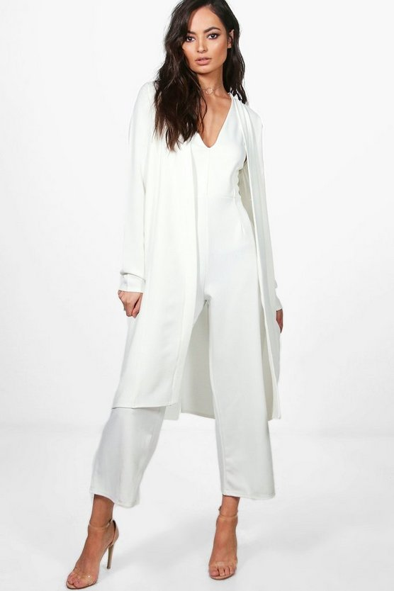 Julie Plunge Jumpsuit & Woven Duster Co-Ord Set