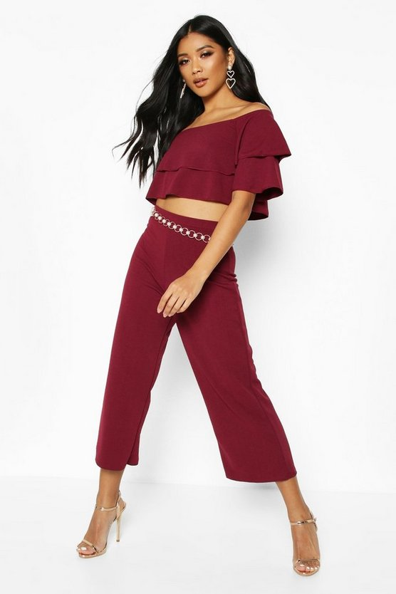 Womens Berry Double Bandeau Top & Culotte Co-Ord Set