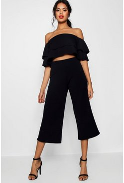 Womens Black Double Bandeau Top & Culotte Co-Ord Set