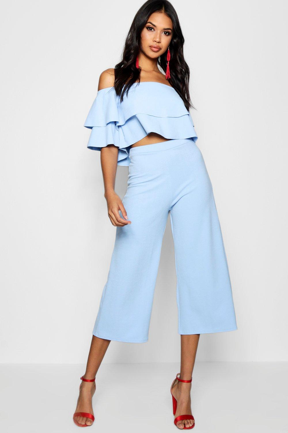 womens double tube top & culotte two-piece set - blue - 2