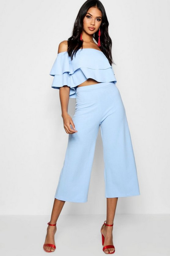 Womens Blue Double Bandeau Top & Culotte Co-Ord Set