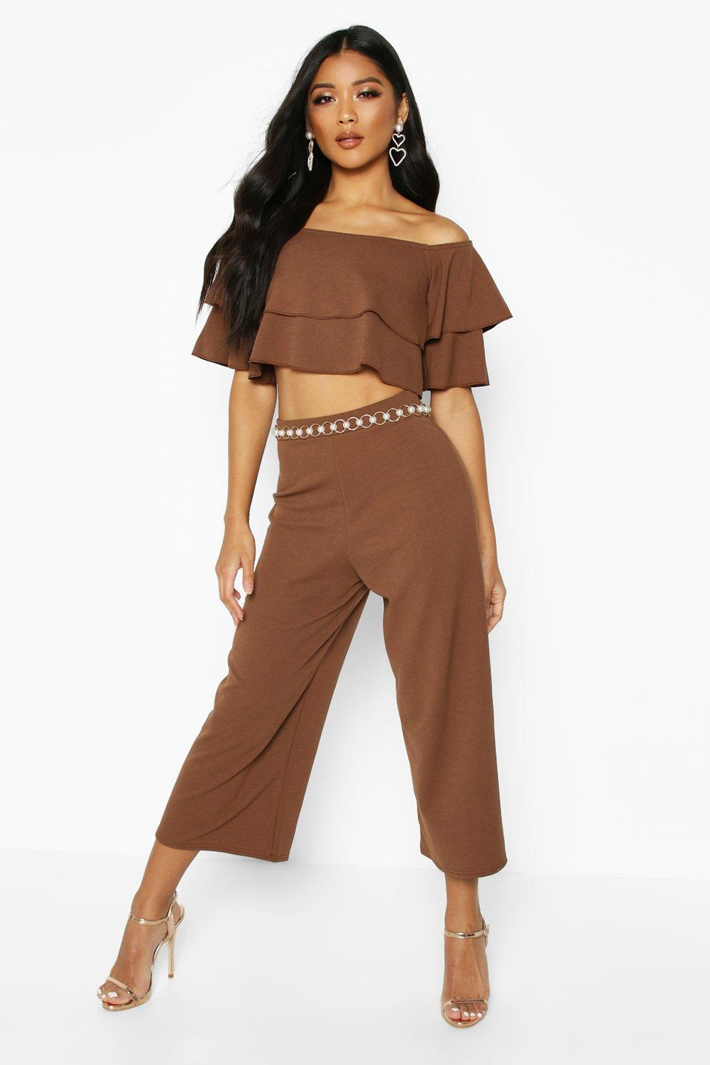 womens double tube top & culotte two-piece set - brown - 2