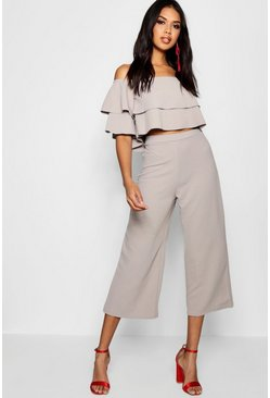 Womens Grey Double Bandeau Top & Culotte Co-Ord Set