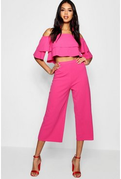 Magenta Double Bandeau Top & Culotte Co-Ord Set