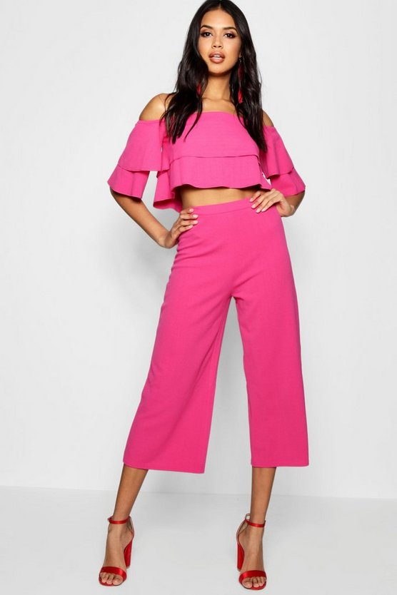 Womens Magenta Double Bandeau Top & Culotte Co-Ord Set