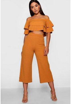 Mustard Double Bandeau Top & Culotte Co-Ord Set