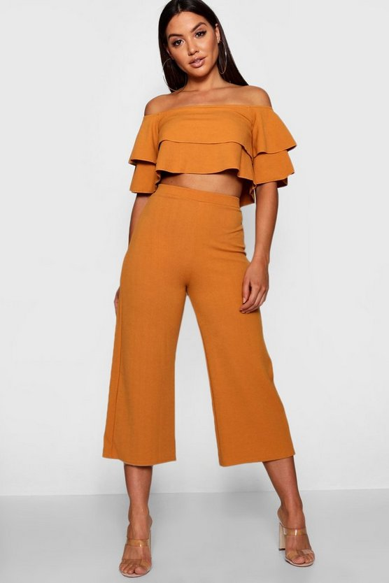 Womens Mustard Double Bandeau Top & Culotte Co-Ord Set