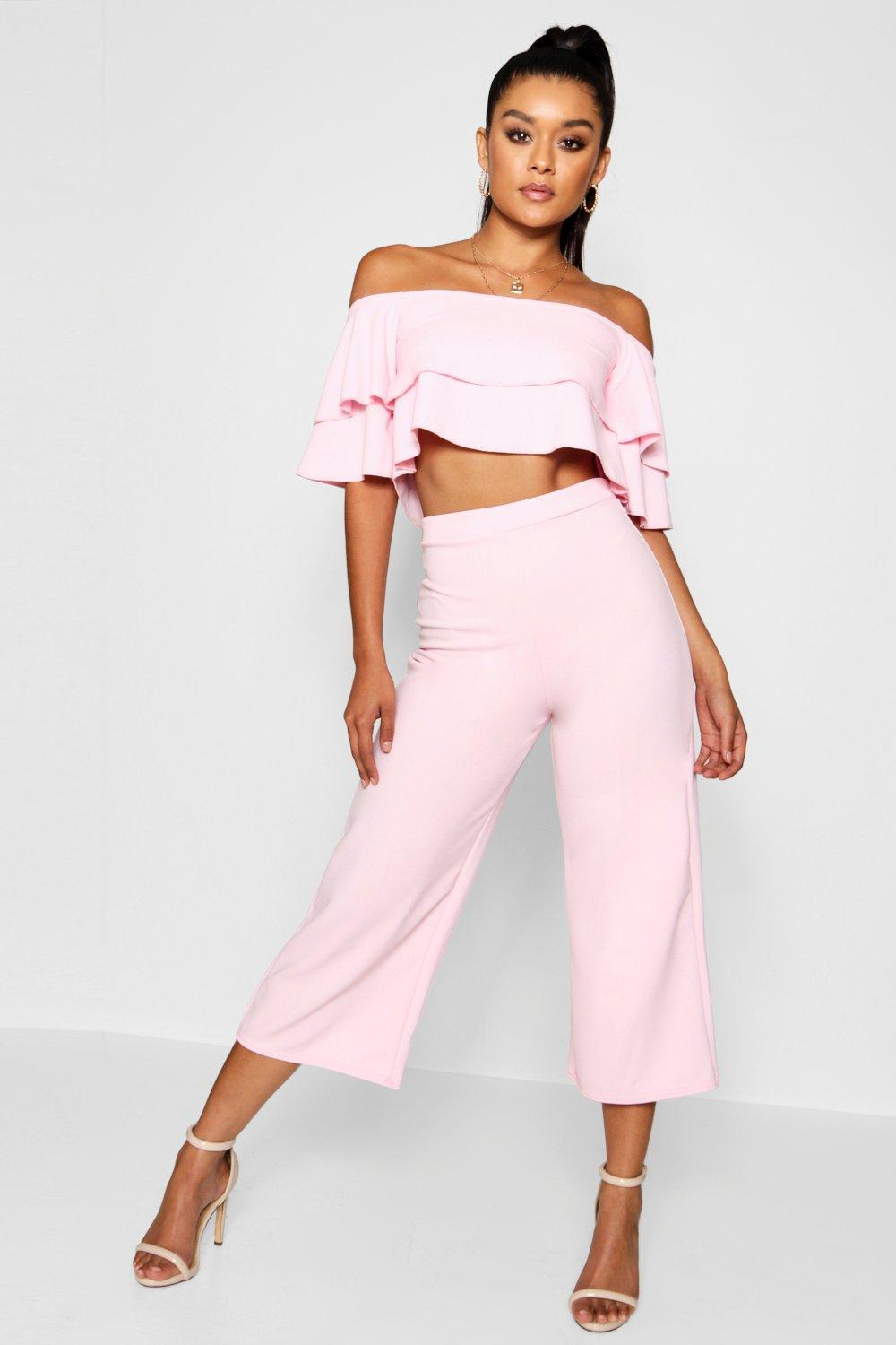womens double tube top & culotte two-piece set - pink - 2
