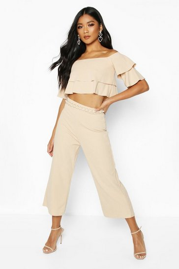 Womens Stone Double Bandeau Top & Culotte Co-Ord Set