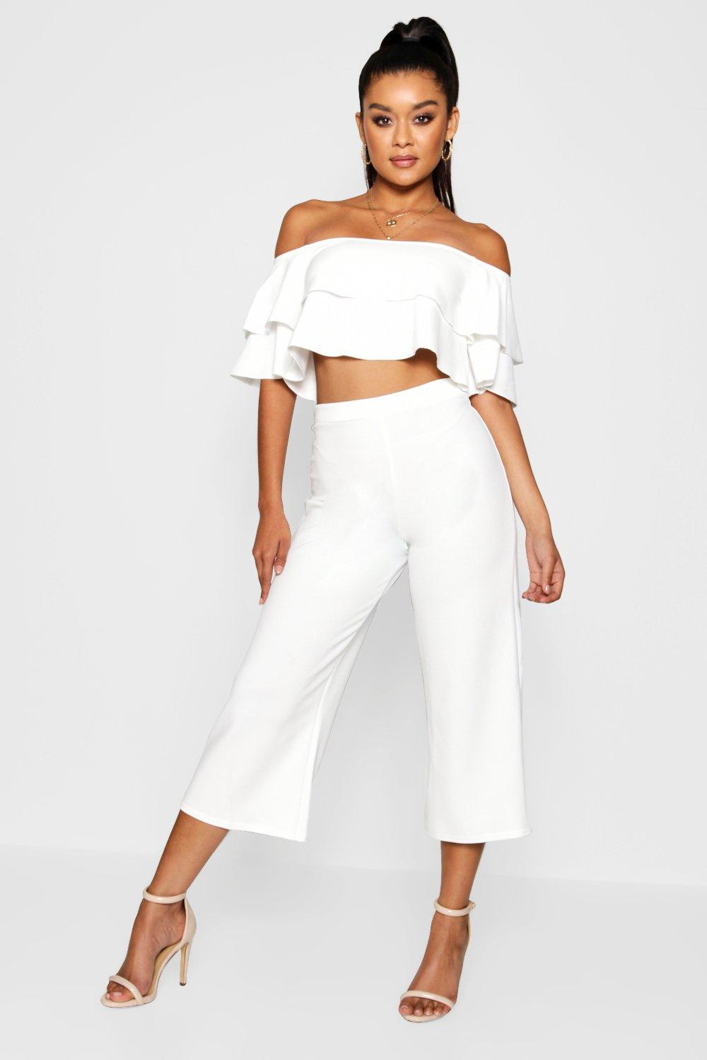 womens double tube top & culotte two-piece set - white - 8