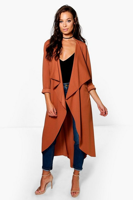 Womens Rust Grace Waterfall Duster