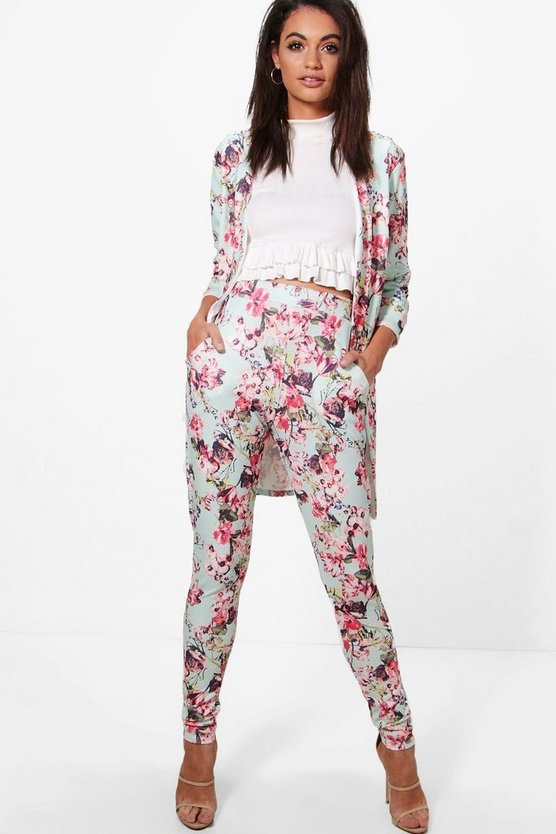 Amy Pastel Floral Print Skinny Trouser