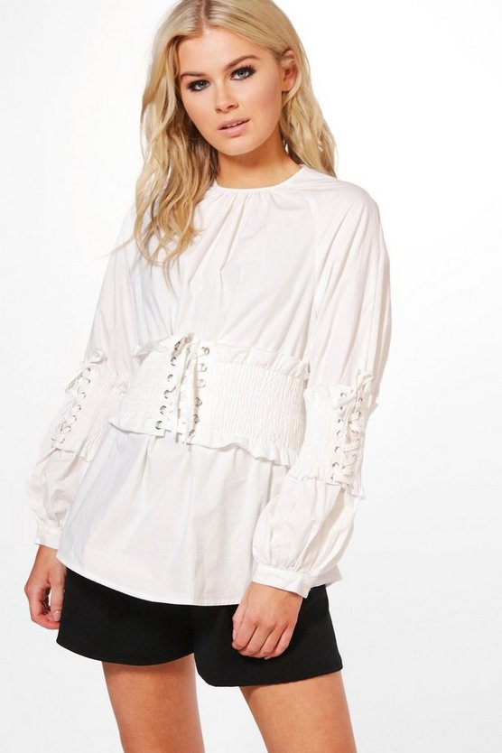 Corset Waist And Sleeve Top